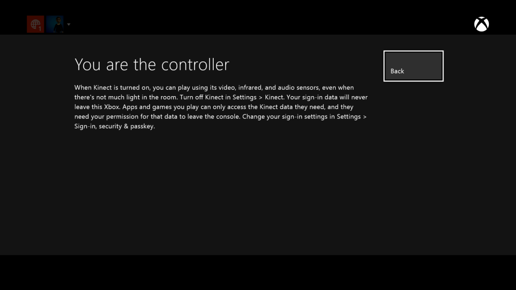 Screenshot from Xbox One sign-in, which is seen if a person selects the How Kinect works button on the previous screen.