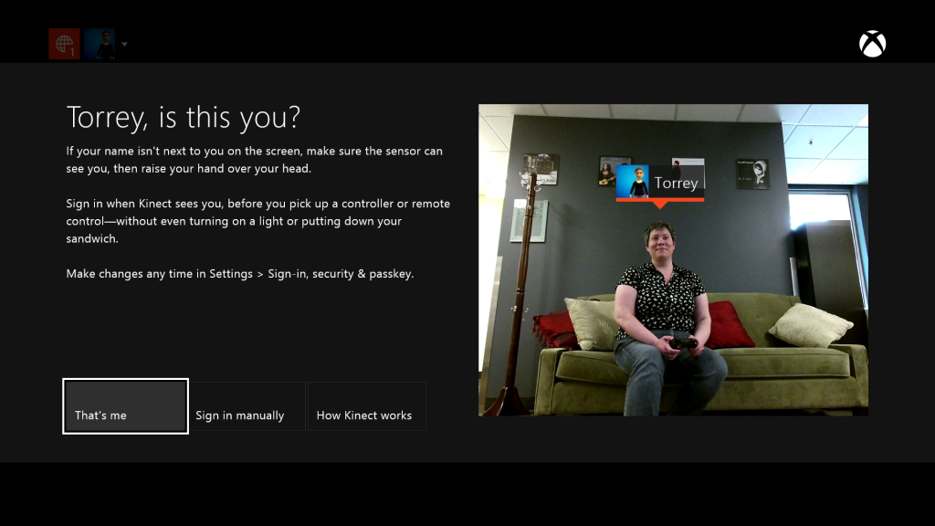 Screenshot from Xbox One sign in, where you see what Kinect can see of you, see an explanation of what will happen, and see where to change your settings.